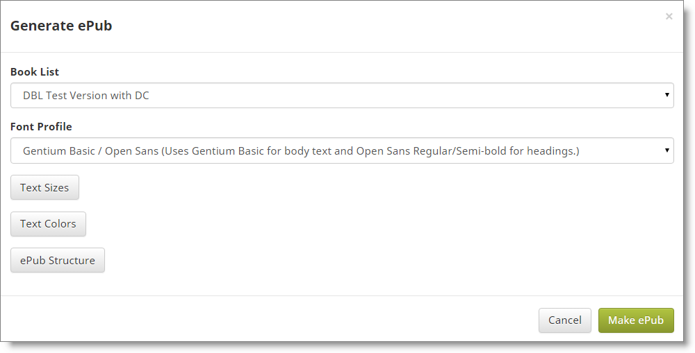 Generate ePub dialog start